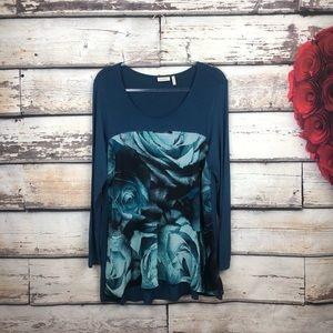 LOGO Lori Goldstein floral panel blue rose tunic m